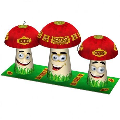 РС458 Фонтан Грибная семейка (батарея из трёх фонтанов в форме грибов)