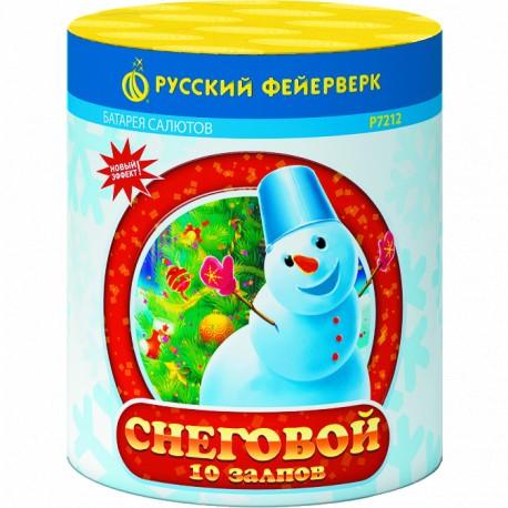 """P7212 Батарея салютов Снеговой (0,8""""x 10) НОВЫЙ ЭФФЕКТ"""