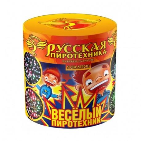 "РС602 Батарея салютов Весёлый пиротехник  (0,8""х 9)"